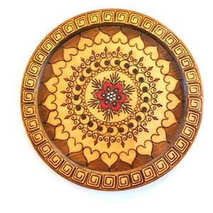 Large Wooden Mandala Handcarved wall plate
